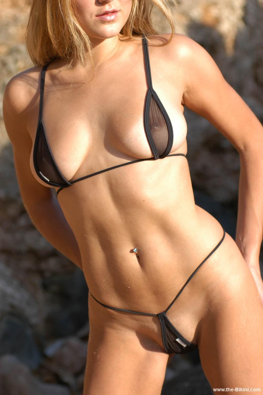 Sexy sheer micro mini lingerie bikini
