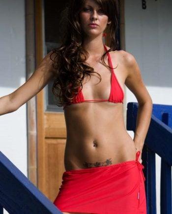theBikini mini Skirt Coverup red 8