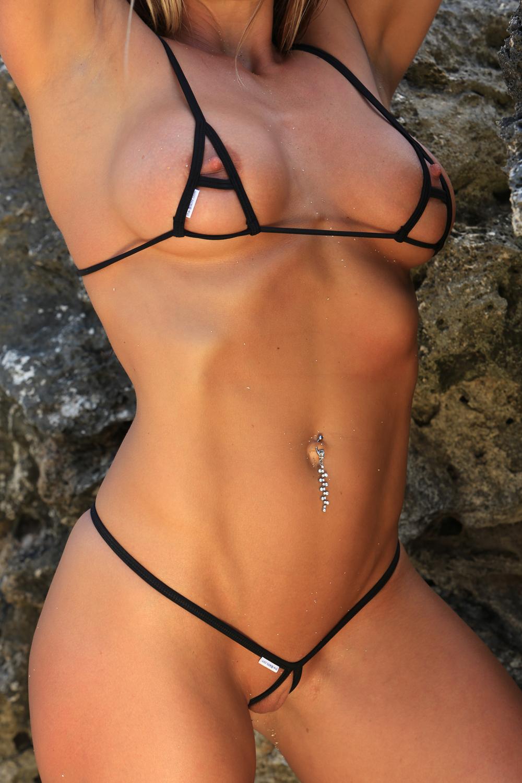 Japanese babe in micro bikini in threesome fucked